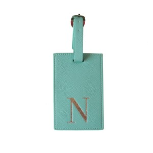 Monogram Luggage Tag Mint with Silver Letter N