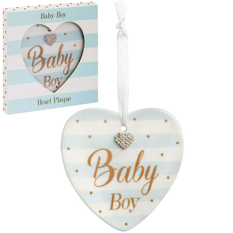 Mad dots baby boy heart plaque