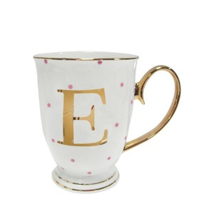 Alphabet Spotty Metallic Mug Letter E Gold With Fuchsia Spots