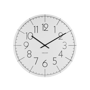 Wall Clock Blade Numbers XL Metal White