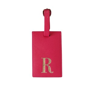 Monogram Luggage Tag Fuchsia with Silver Letter R