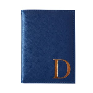 Monogram Passport Cover Navy with Gold Letter D