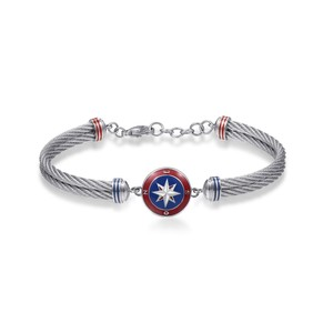 Bracelet In Stainless Steel 316L Red Blue and White Enamels