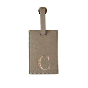 Monogram Luggage Tag Grey with Silver Letter C