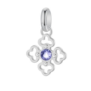 Pendant In Steel White Swarovski Crystals and Provence Lavender