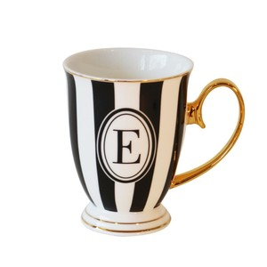 Bombay Duck Alphabet Stripy Letter E Black/White Mug