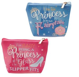 Handy Pvc Make Up Bag Purse Princess Slogan