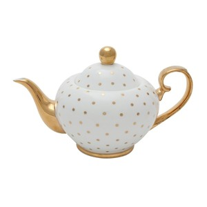 Miss Golightly Teapot White with Gold Spots