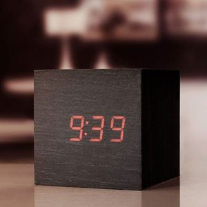 Clap On Wood Cube Alarm Clock Dark