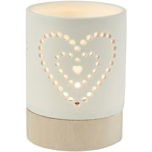 Bianca wood and porcelain tealight holder