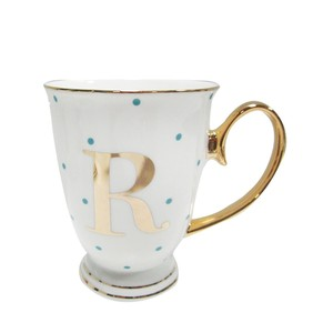 Alphabet Spotty Metallic Mug Letter R Gold with Aqua Spots