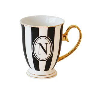 Bombay Duck Alphabet Stripy Letter N Black/White Mug