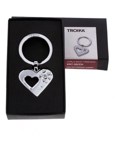 Troika Heart-Shaped Metal/Swarovski Keyring