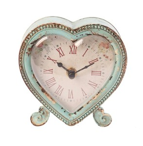 Boudoir Heart Clock Duck Egg