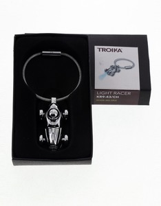 Troika Traditional Racing Car Shiny Chrome Plated W/Blue Led Light Keyring
