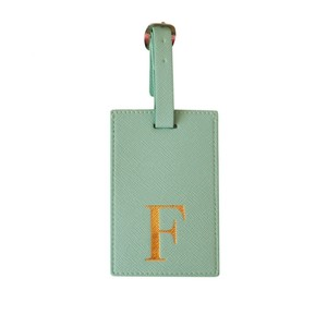Monogram Luggage Tag Mint with Gold Letter F