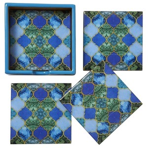 Asilah Set 4 Square Coasters In Holder