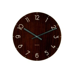 Wall Clock Glass Wood Small Dark Wood