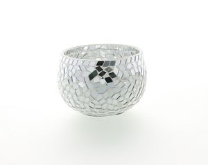 Silver Mosaic Large Tealight Holder