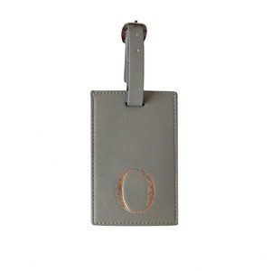 Monogram Luggage Tag Grey with Silver Letter O