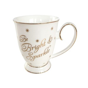 Be Bright and Sparkle Mug With Stars Gold