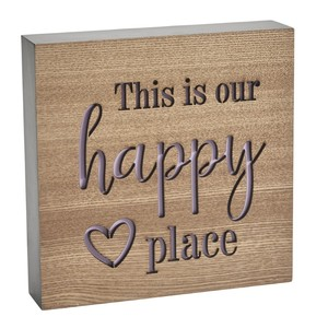 This is our happy place block sign