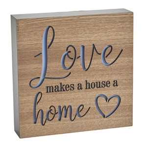 Love Makes A House A Home Block Sign