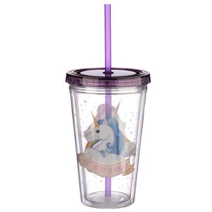 Funky Unicorn Double Walled Cup With Lid And Straw