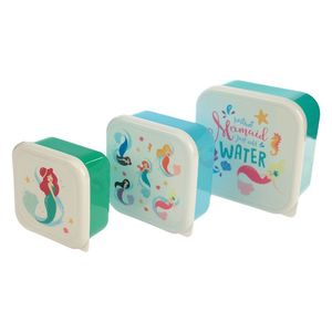 Cute Mermaid Design Set Of 3 Plastic Lunch Boxes