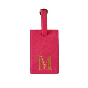 Monogram Luggage Tag Fuchsia with Gold Letter M