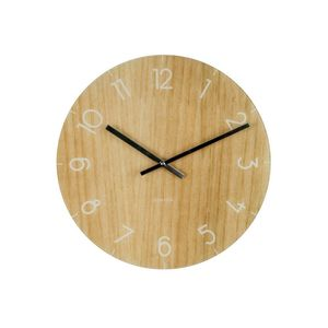 Wall Clock Glass Wood Small Light Wood