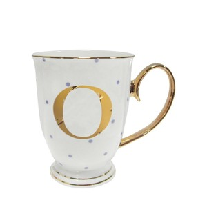 Alphabet Spotty Metallic Mug Letter O Gold with Lilac Spots