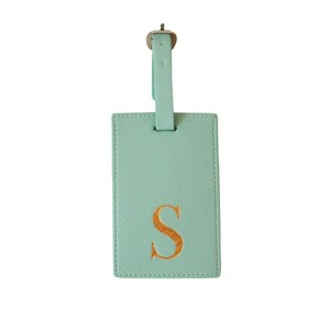 Monogram Luggage Tag Mint with Gold Letter S