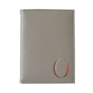 Monogram Passport Cover Grey with Silver Letter O