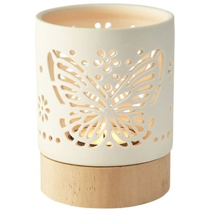 Bianca wood and porcelain butterfly tealight holder