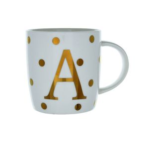 13Oz China Barrel Mug Initial A Dot Gold