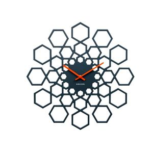 Wall Clock Sunshine Hexagon Mdf Dark Grey