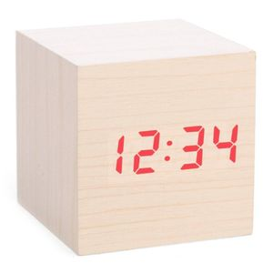 Clap on wood cube alarm clock light