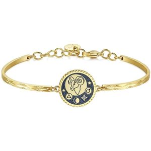 Aries 316L Stainless Steel Gold Pvd Glitter Blue Enamel And Crystal Swarovski Crystal