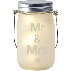 Led mr & mrs wedding jam jar