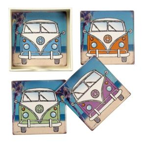 Set 4 Camper Van Coasters