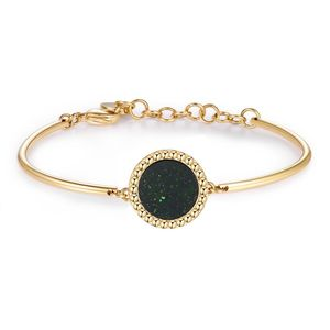 Bracelet gold PVD with green goldstone disc