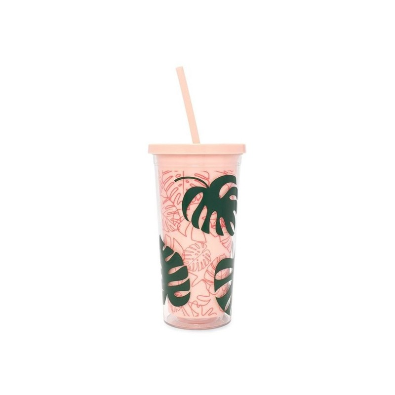 Sip Sip Tumbler With Straw Monstera