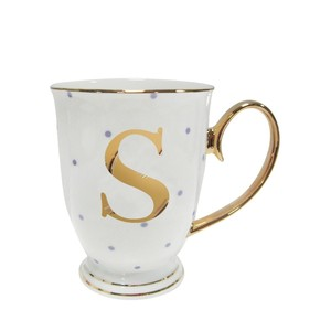 Alphabet Spotty Metallic Mug Letter S Gold with Lilac Spots