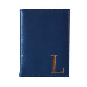 Monogram Passport Cover Navy with Gold Letter L