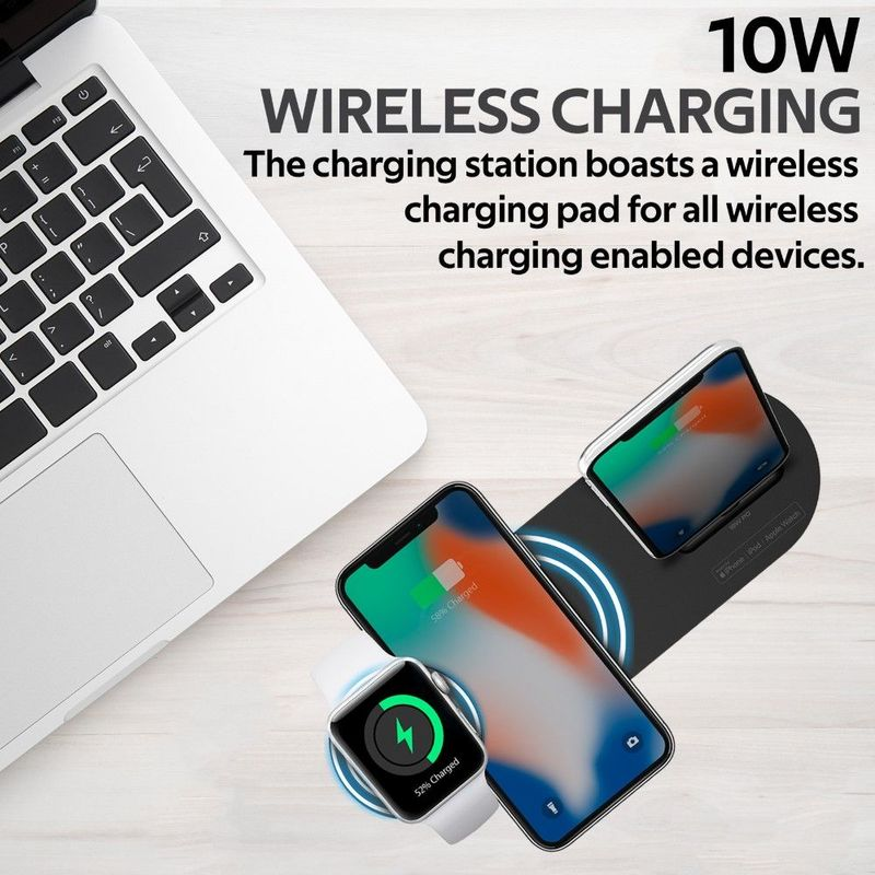 Promate Apple MFI Charging Dock Lightning 18W Pd 10W Wireless Charger for AirPods & Smartphones Apple Watch Charger Black Grey