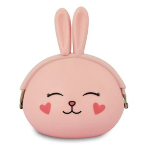 Pink Bunny Closed Eyes Silicone Purse