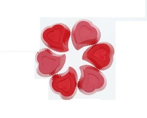 Heart Muffin Cups Set Of 6 Sz Red & Pink