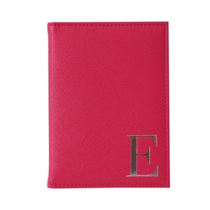 Monogram Passport Cover Fuchsia with Silver Letter E