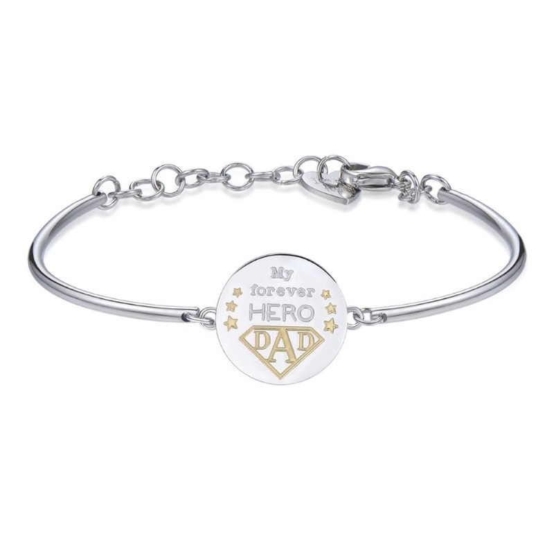 My Forever Hero Dad Stainless Steel Bracelet With Gold Pvd And White Swarovski Crystals